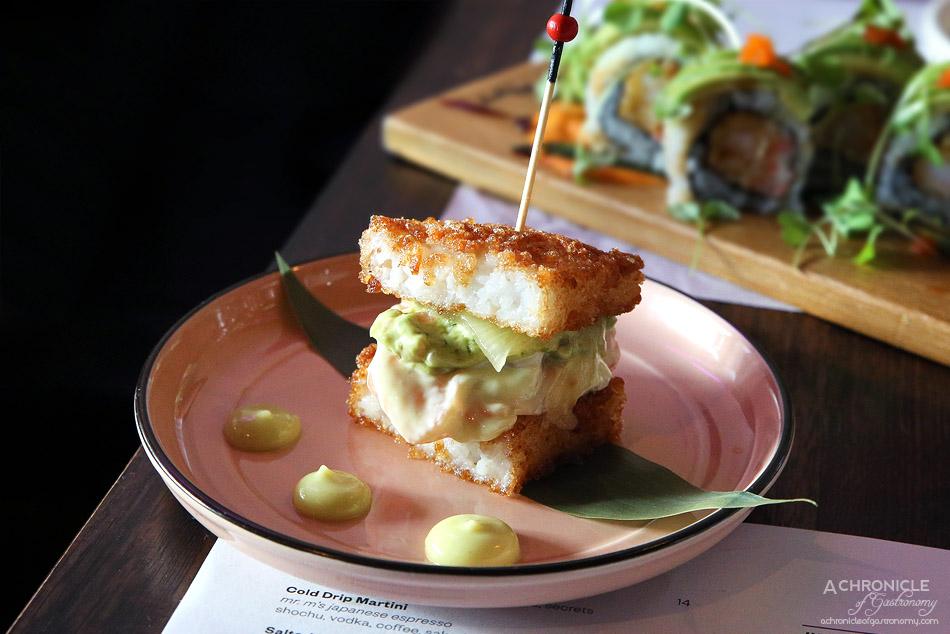 Mr Miyagi - Sushi Sandwich - Salmon, guacamole, pineapple, wasabi mayo, onion ($6)