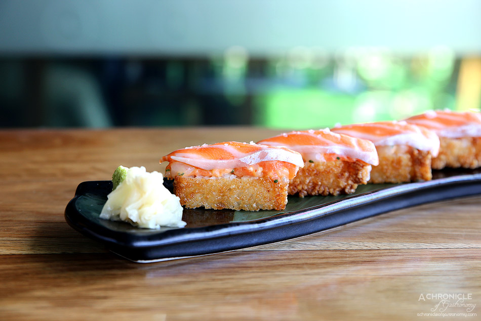 Sake - Crispy nigiri salmon w scallop and spicy mayo ($22)
