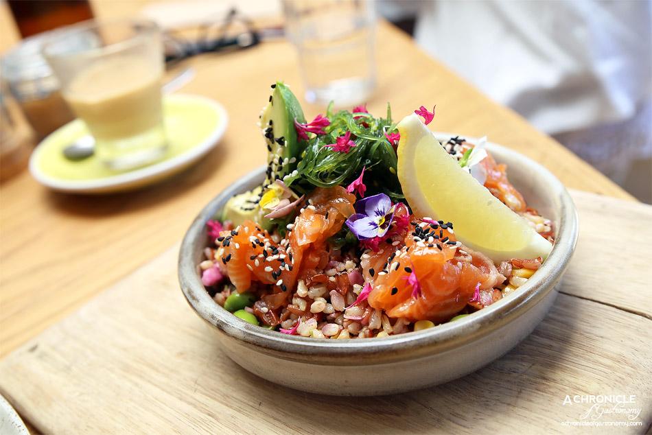 Short Straw - Poke bowl - Multigrain rice and cured sesame seed salmon, sweetcorn, soybeans, avocado, fresh herbs and ponzu dressing ($16.50)