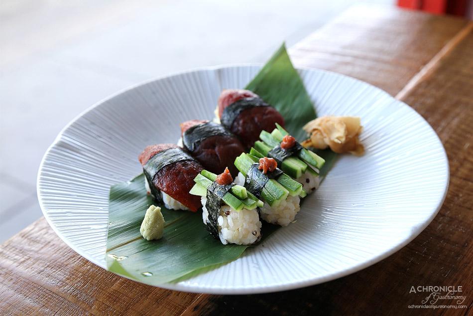 Spiral Beans - Nigiri sushi - Cucumber w ume paste, marinated tomato ($12.50)