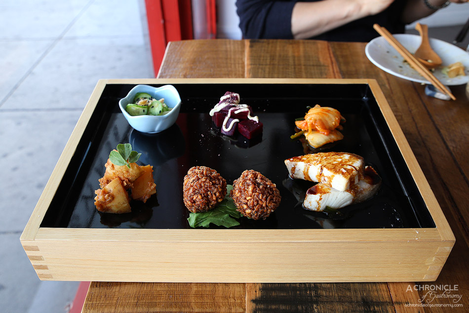 Spiral Beans - 5 Element set meal - Homemade kimchi, miso and tomato potatoes, pickled cucumber and ginger, beetroot w shiso powder and soy mayo, soy kingfish, konnyaku balls ($19.50)