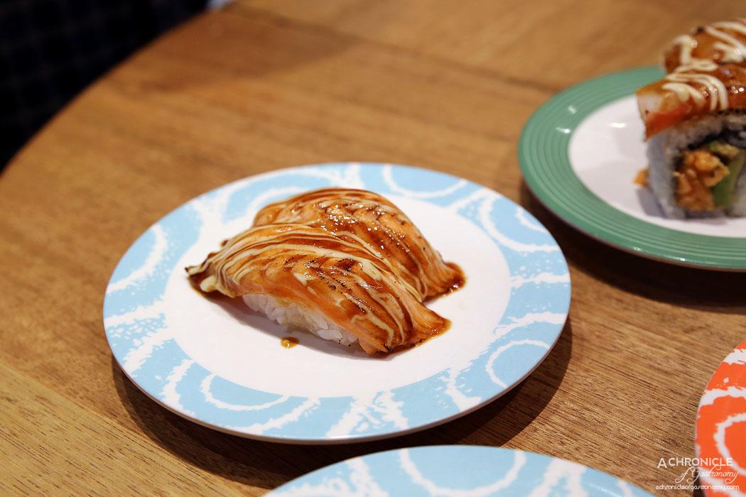 Sushi Jiro - Aburi Salmon Nigiri w Teri Mayo ($3.50)