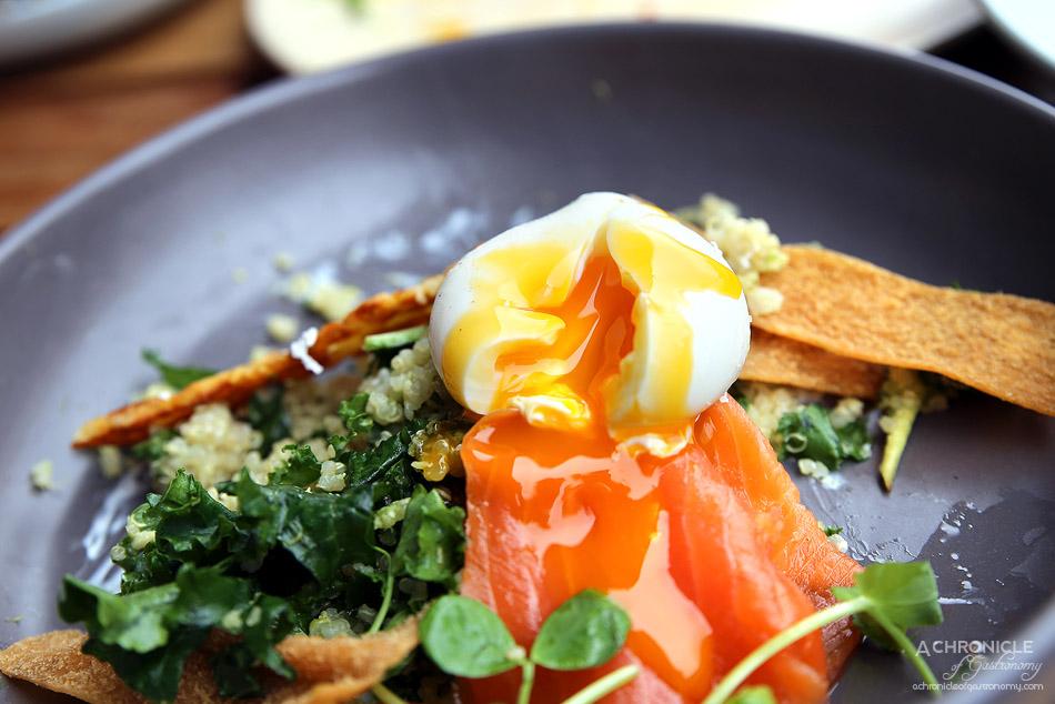 Tinker - Breakfast Bowl w cashew pesto quinoa, avocado, kale, cherry tomatoes, halloumi, yoghurt, poached egg, pita chips + salmon ($18.50 + 4)