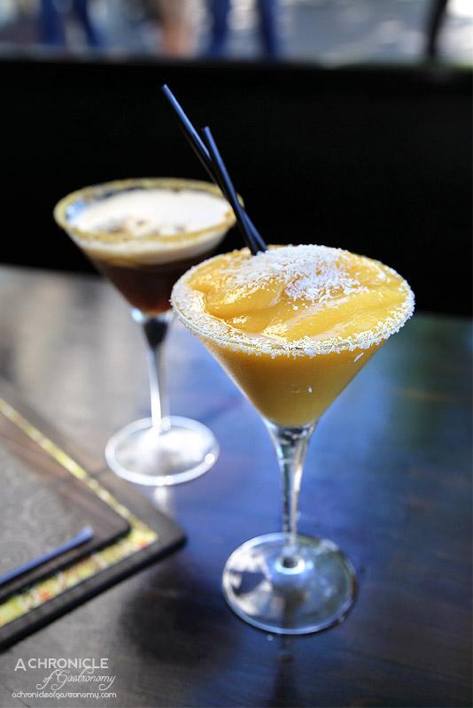 Robarta - White Peach & Mango Daiquiri - Mango puree, white peach, Bacardi Rum, Malibu, Peach Schnapps, coconut syrup, lime, raspberry puree ($18) Salted Honeycomb Espresso Martini - Vodka, caramel, salt, espresso, honeycomb
