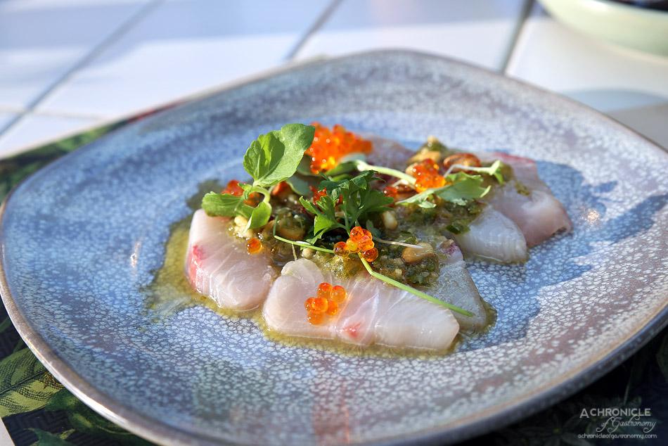 Bang Bang at the RC - Sashimi of Kingfish w caramelised cashew, trout roe ($18)