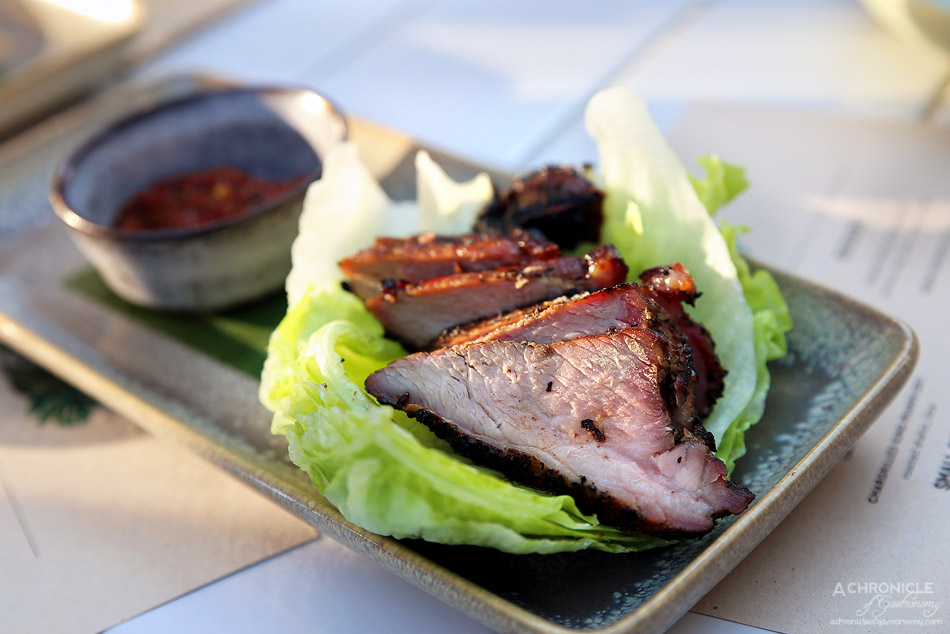 Bang Bang at the RC - Chargrilled pork neck w iceberg lettuce and red pepper jaew