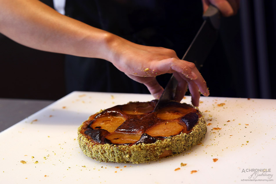 Black Star Pastry Pop-up Carlton - Frangipane and Plum Tart - Sweet base with a crust of crushed pistachios filled with frangipane and plum, with sweet glaze
