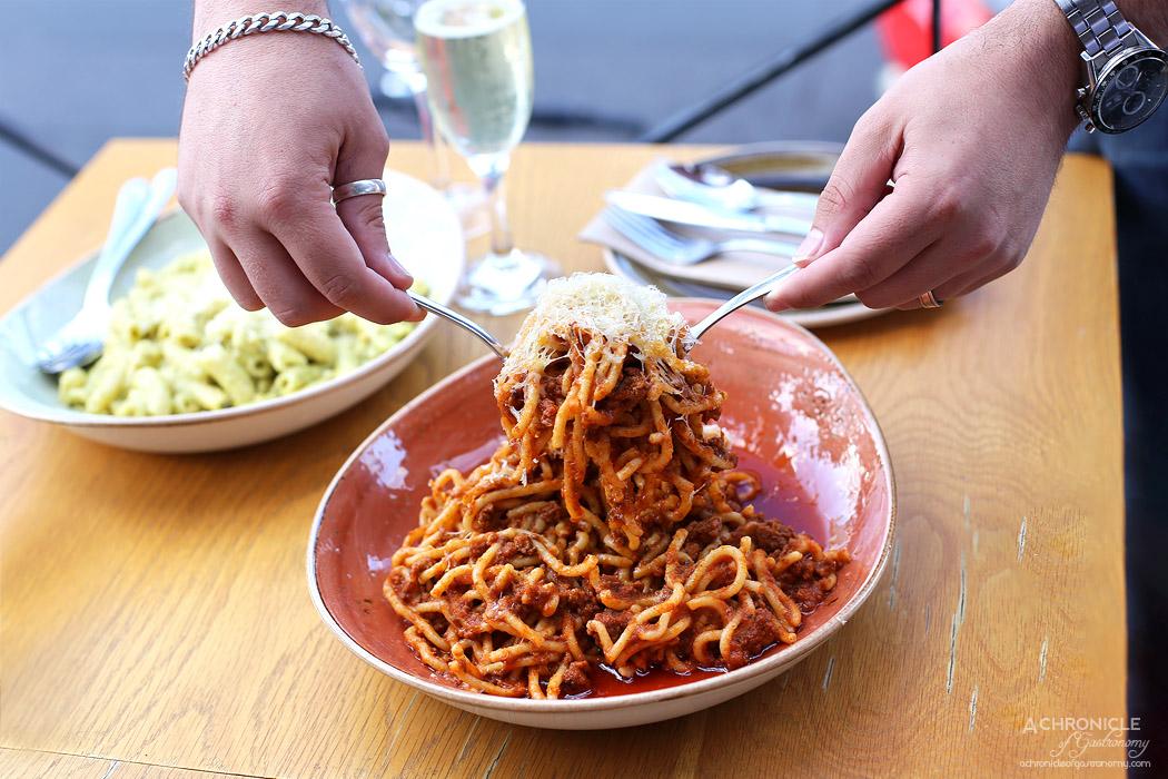 Chatty Vespa - Spaghetti Bolognese ($18) Creamy pesto penne ($14)
