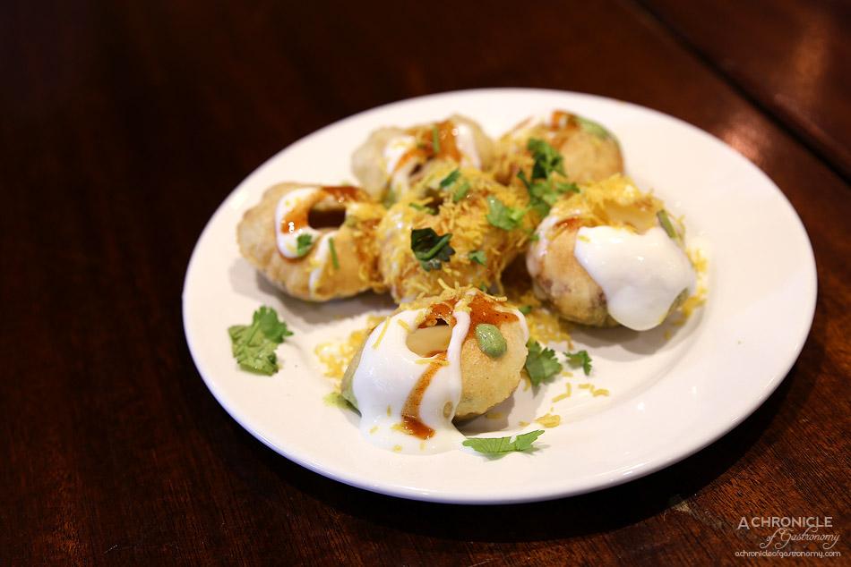 Dosa Hut CBD - Dahi Puri ($7,95) w tamarind sauce, mint sauce, yoghurt inside, coriander and sev on top