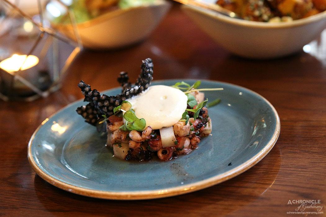 Dutchess - BBQ octopus, garlic, tomato, dehydrated olives ($19)