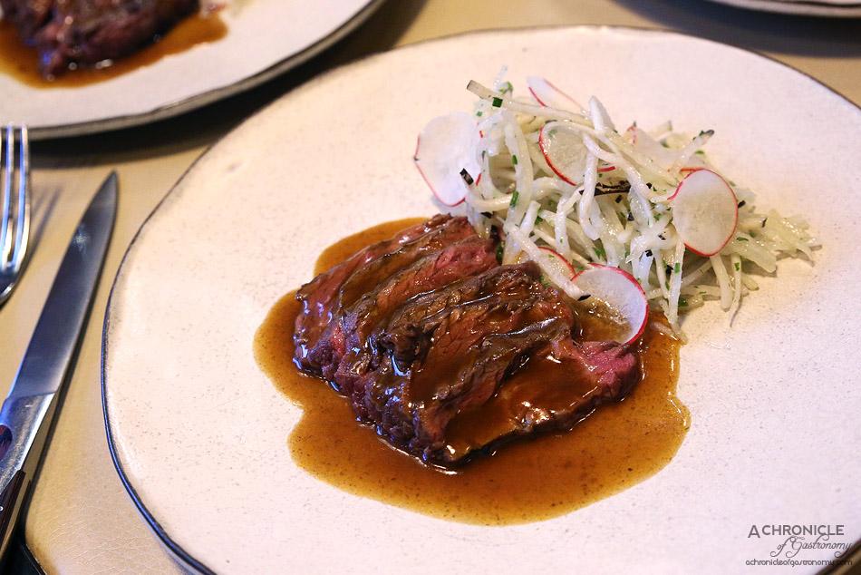 MPD Steak Kitchen - Grain fed Rangers Valley hanger steak w red wine jus and kohlrabi salad