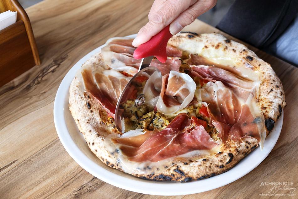 Pizzaiolo Micheluccio - Di Micheluccio - Fior Di Latte Mozzarella, Rosemary Garlic Potatoes, Cherry Tomatoes, Parma Prosciutto & EVOO ($23)
