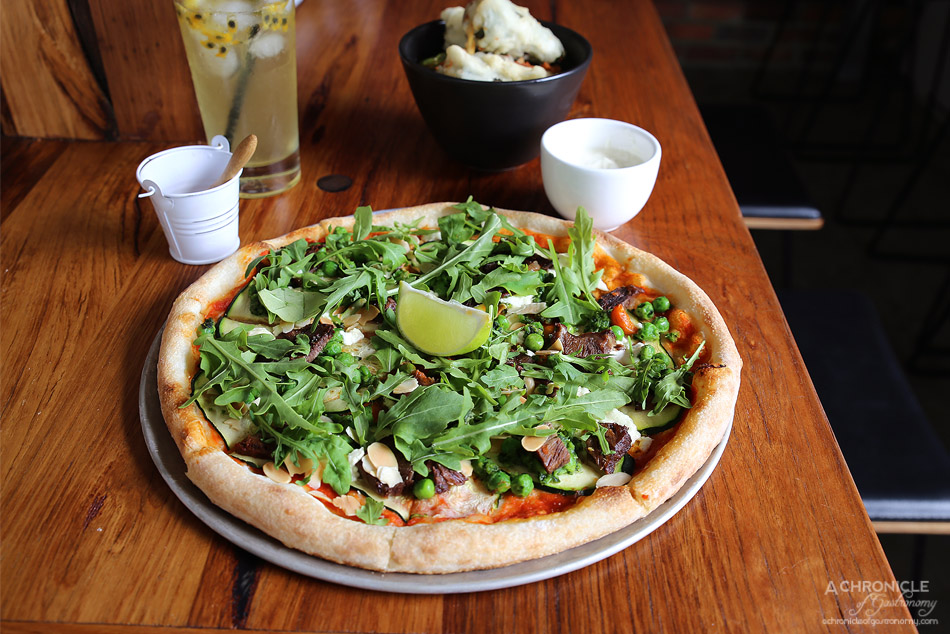 Small Print Pizza - Zucchini - Roast Zucchini, Mushy Peas, Goats Cheese, Rocket, Lime & Flaked Almonds + beef cheek ($18+4)