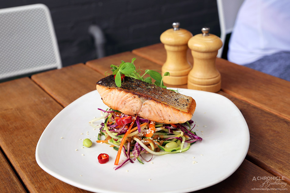 Temperance Society - Baked Salmon w zoodles, red cabbage, capsicum, bean sprouts, carrots, edamame, sesame, fresh chilli and lime and satay dressing ($21)