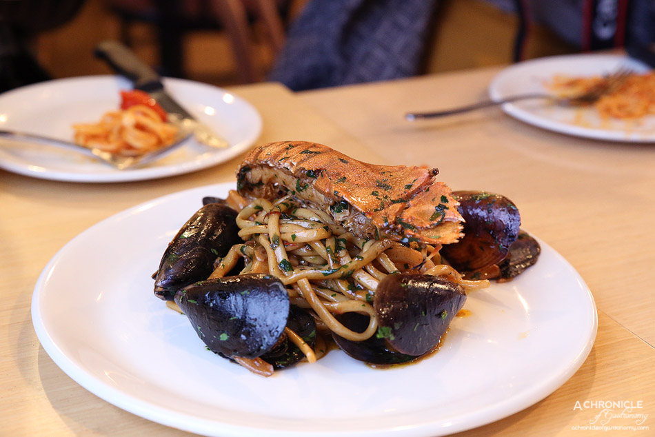 Woodfire Pizzeria - Linguine di Mare - Morton bay bug, Tasmanian mussels, calamari, chilli and garlic sauce ($23.50)