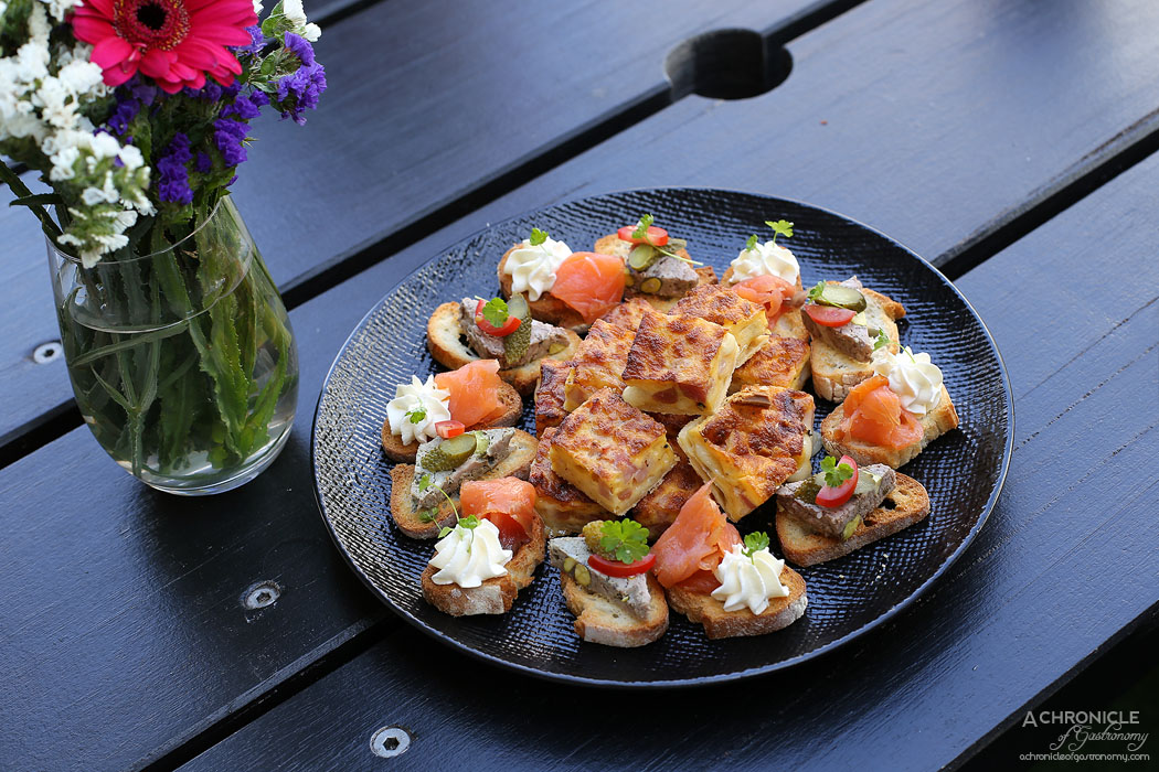 Chez Mademoiselle - Ham and cheese quiche, Salmon and Cream Cheese, Pork and pistachio terrine