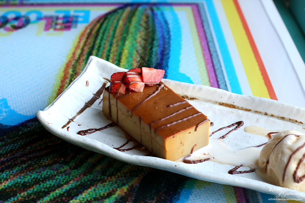 El Sabor by El Cielo - Burnt flan - Eggs, milk, cream cheese, soaked in caramel, infused with coffee, served w ice cream ($10)
