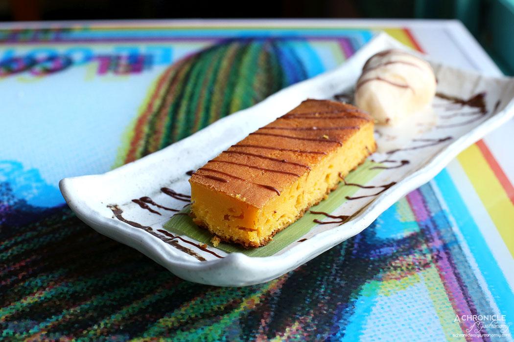 El Sabor by El Cielo - Corn cake (pastel de elote) w cajeta and ice cream ($12)