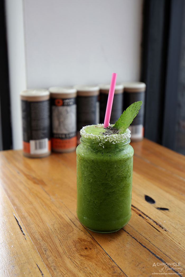 My Other Brother - Green Smoothie - Kale, peach, mango, ginger, honey, coconut water ($10.50)