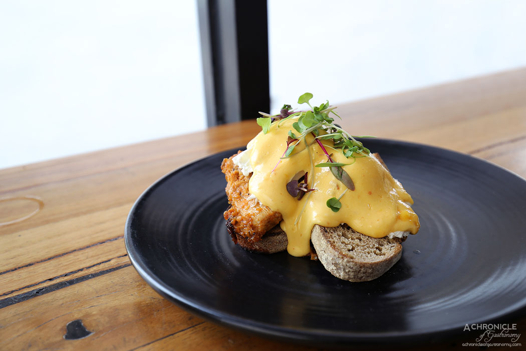 My Other Brother - Eggs Benny - Southern fried chicken w chipotle hollandaise on dark rye w two poached eggs ($19)