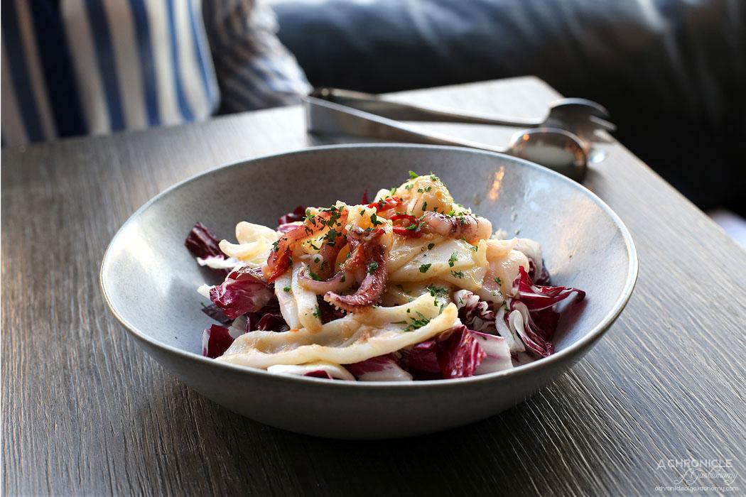 Pizza e Birra - Insalata di Calamari - Grilled Calamari Salad, Wilted Radicchio, Chilli Oil ($23)