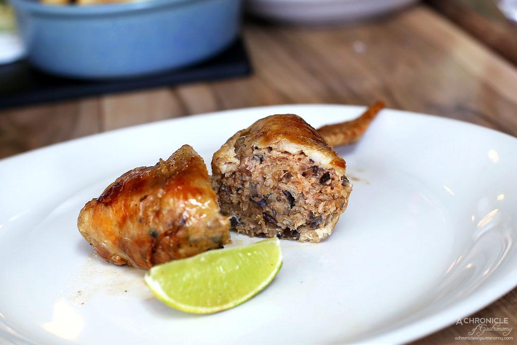 Platform 3 - Flying Pigs - Whole chicken wing stuffed w Japanese Kurobuta pork (2 for $12)