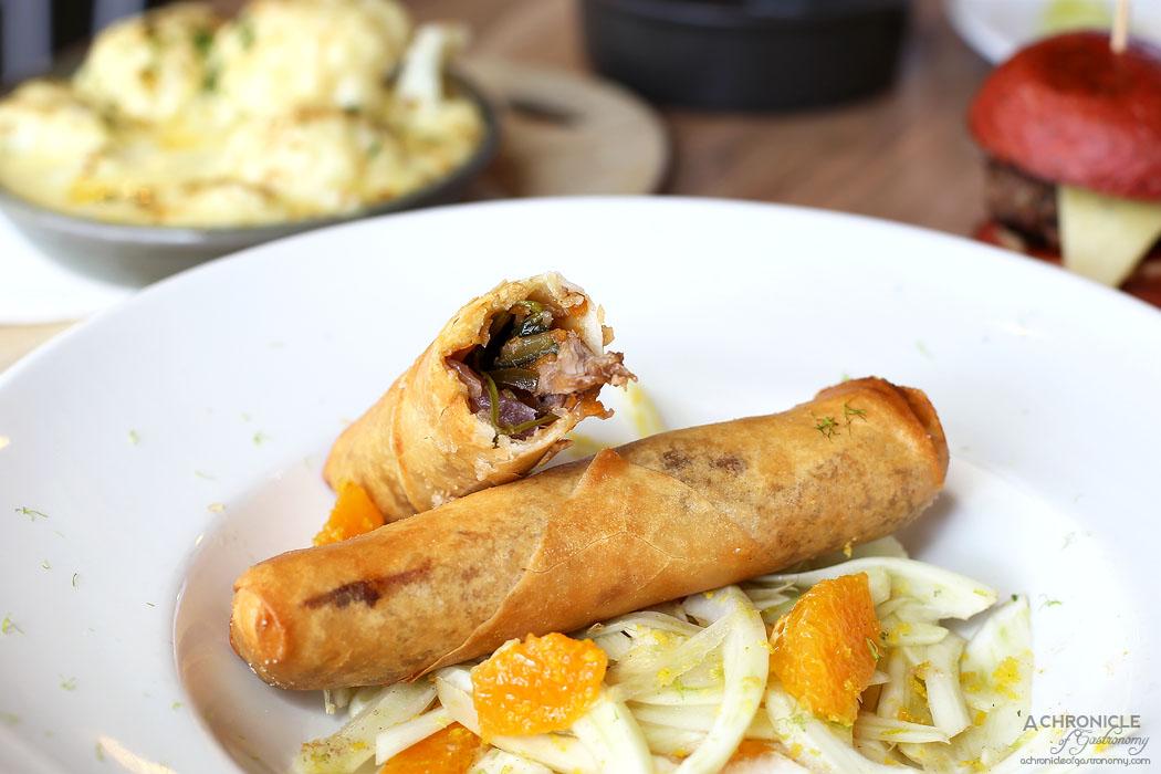 Platform 3 - Duck Cigar - Zucchini, eggplant, capsicum stew, duck confit, orange fennel salad ($19)