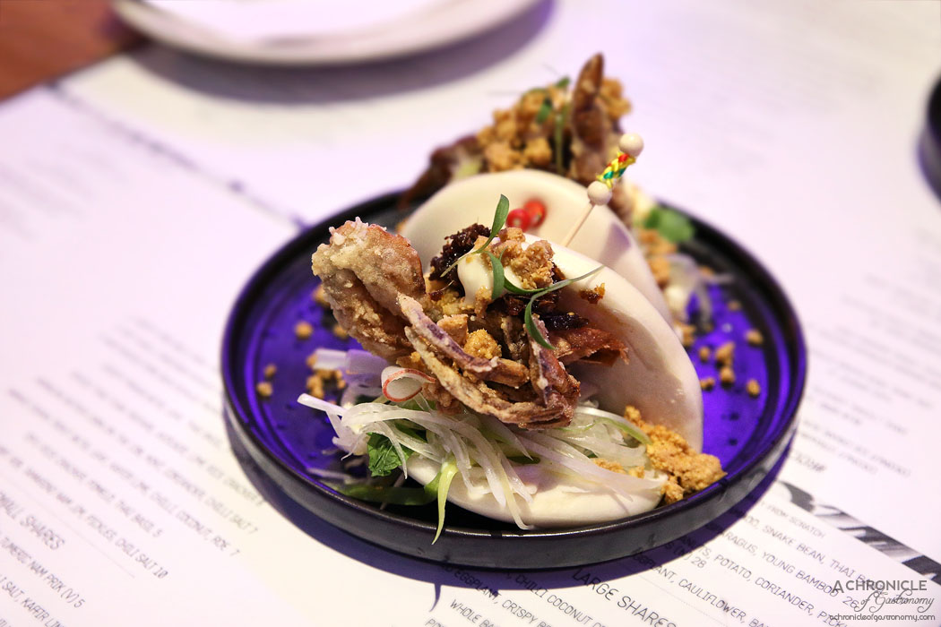 Rock Sugar - Soft shell crab steamed bun w pickled papaya, green onion and chilli jam ($10 ea)