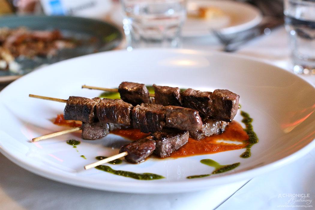 Watts Cooking - Beef skewers , tomato sauce, paprika garlic oil