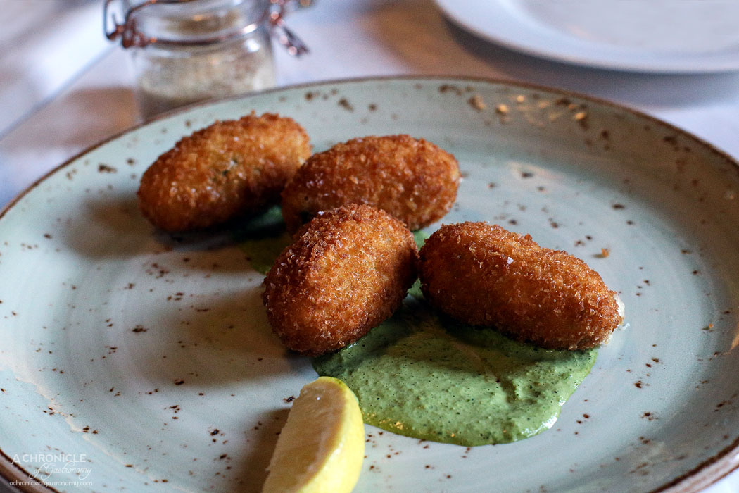 Watts Cooking - Roasted cauliflower and Tallegio croquette with Green Goddess sauce of spring onion and coriander