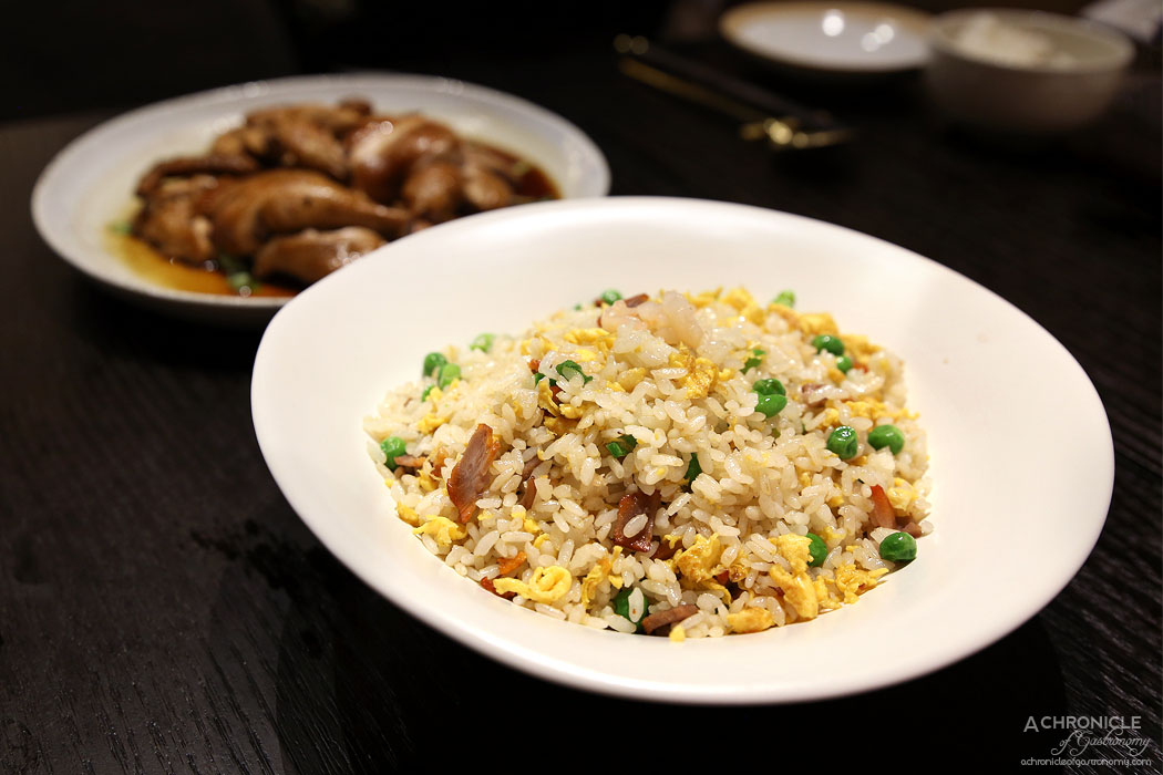Gold Moon - Fried rice w fresh prawn and char siu ($22) Slow-cooked free range chicken w soy sauce (half chicken $25)