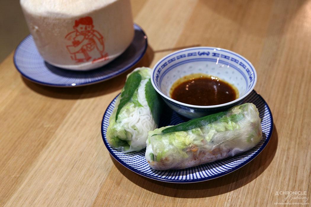 Hawker Boys - BBQ Pork Char Siu Rice Paper Rolls w vermicelli noodles, cucumber, lettuce, mint, rau ram, fried shallots, hoisin peanut sauce ($7)