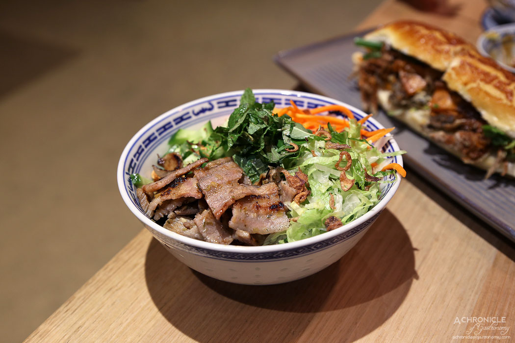 Hawker Boys - Grilled Lemongrass Pork Belly Vermicelli Salad w rice noodles, pickled carrots, shredded lettuce, cucumber, fried shallots, spring onion, coriander, fresh herbs, sweet and salty fish sauce ($12)