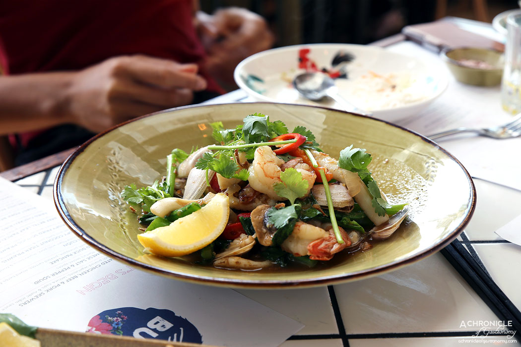 Mamas Buoi Chadstone - Wok tossed seafood with lemongrass, tiger prawns, crispy squid, pipis and ling fish $28