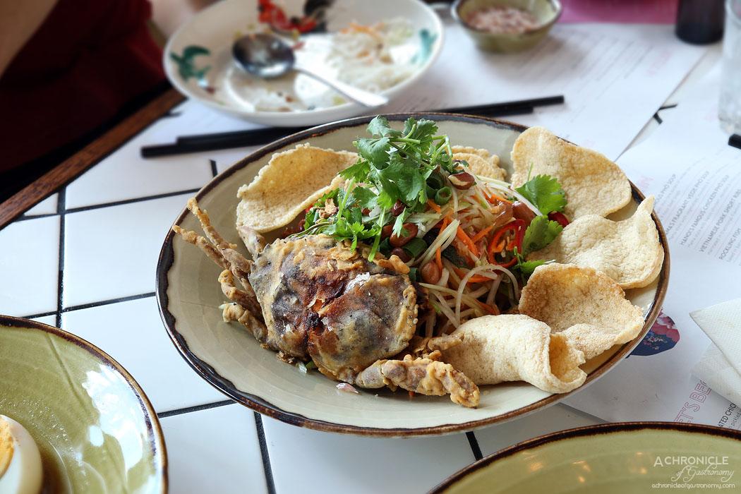 Mamas Buoi Chadstone - Crispy fried soft-shell crab served atop a zesty green papaya salad ($22)