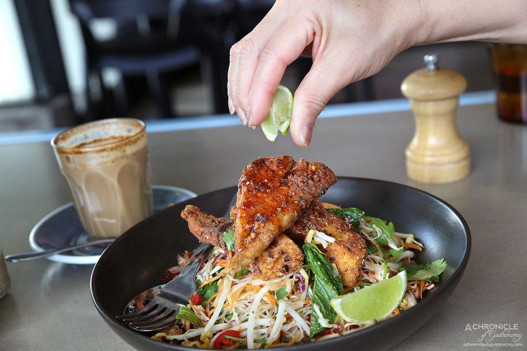 Neon Tiger - Crispy Barramundi w beanshoots, snowpeas, rice noodles, spring onions, Asian herbs ($19.50)