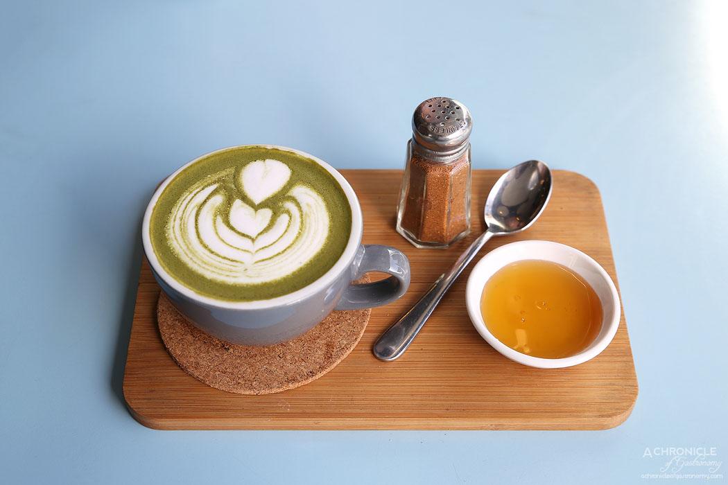 Neon Tiger - Matcha Maiden Latte w cinnamon and honey ($5)