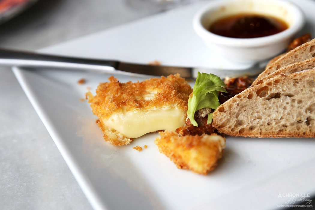 The North Melbourne Hotel - Panko crumbed Gippsland brie, fig jam, toasted walnuts and sourdough ($19)