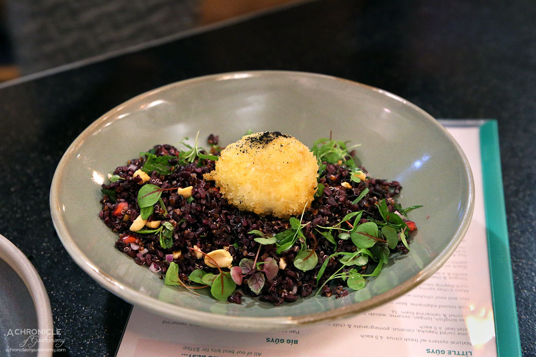 Uncle - Black wild rice, nuts, grains, chilli, herbs, panko crumbed hen's egg ($16)