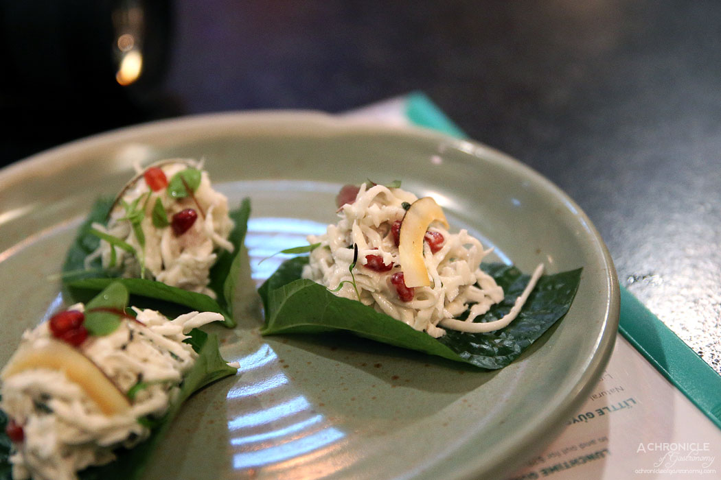 Uncle - Lime cured hapuka, coconut, pomegranate, chilli on betel leaf ($6.50 ea)