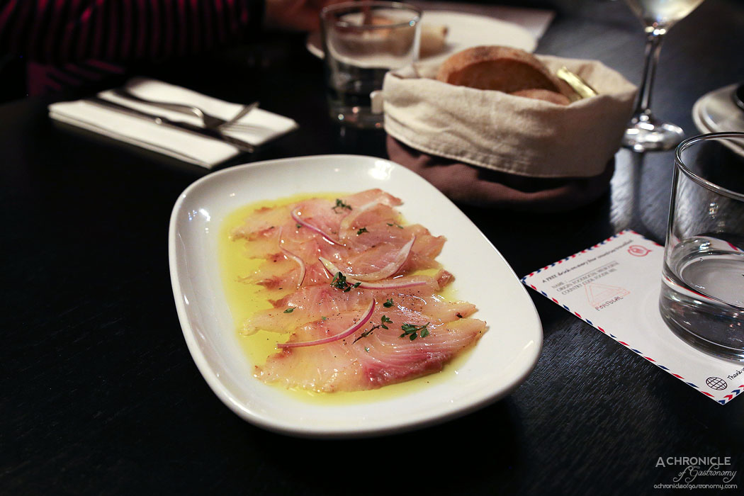 Bar Lourinha - Yellowtail kingfish 'pancetta' and lemon oil