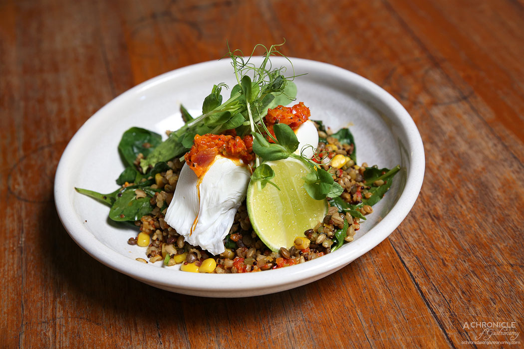 El Mirage - Grain Salad w spinach, corn, coriander, avocado, pickled shallots, poached egg, lime, South American inspired dressing ($18)