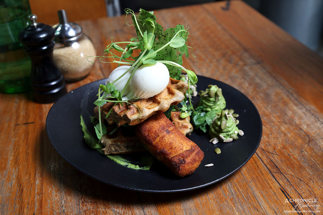 El Mirage - Avocado Whip - Savory wholemeal waffles w poached eggs, goats cheese croquette, pickled shallot and sorrel leaf salad ($17.50)