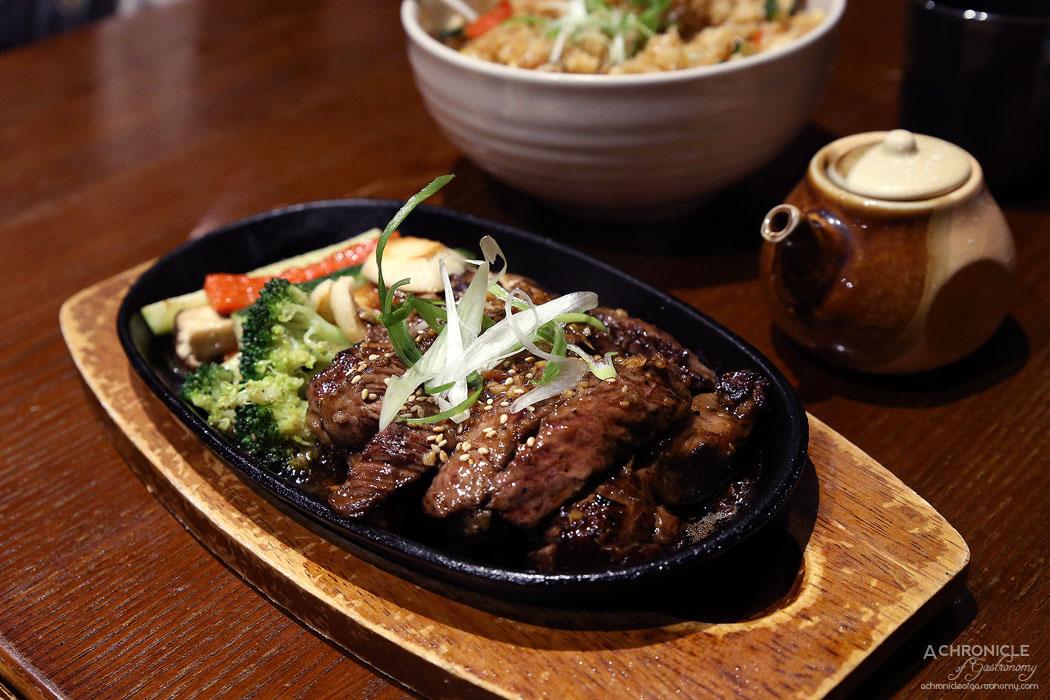 Hibachi - Wagyu Su-te-ki - 200g full blood premium wagyu sirloin steak with seasonal vegetables served on hot plate with sesame sauce ($46.80)
