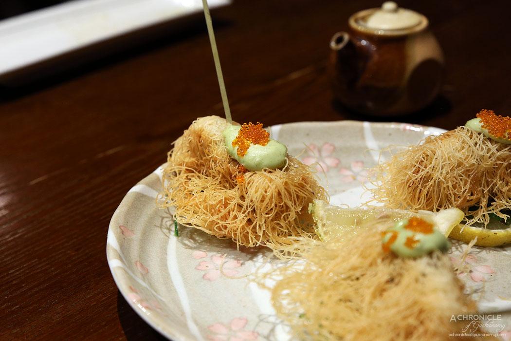Hibachi - Kaki Cocoon - Pure Coffin Bay Oysters wrapped in crispy Kataifi pastry w wasabi mayo ($16.80)