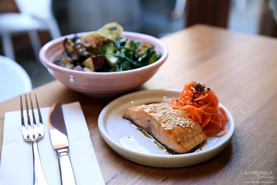 MOM Cafe - Miso eggplant, sesame and agave inulin black rice, yuzu greens, purple sweet potato, fermented vegetables, crispy matcha lotus, coconut amino glazed salmon ($28)