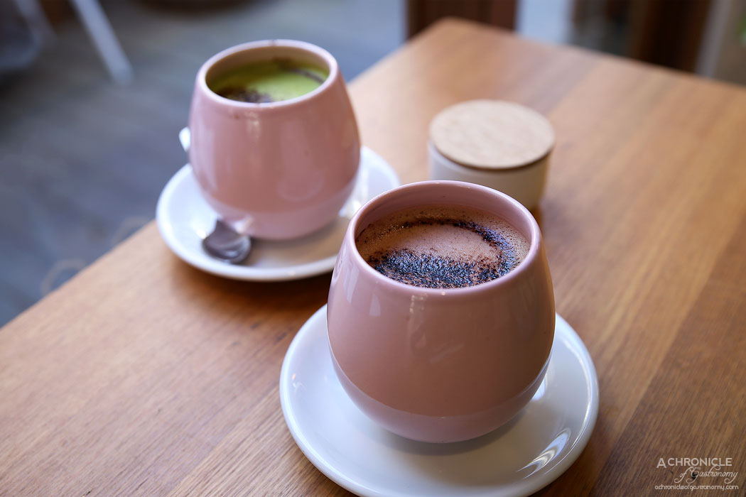 MOM Cafe - Beetroot cacao latte ($5) Matcha with agave latte ($5)