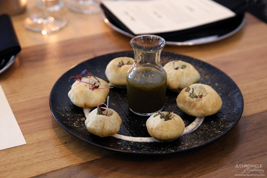 Piquancy - Pani Puri - Fried puff pastry balls filled with mashed potatoes & chick peas ($18)
