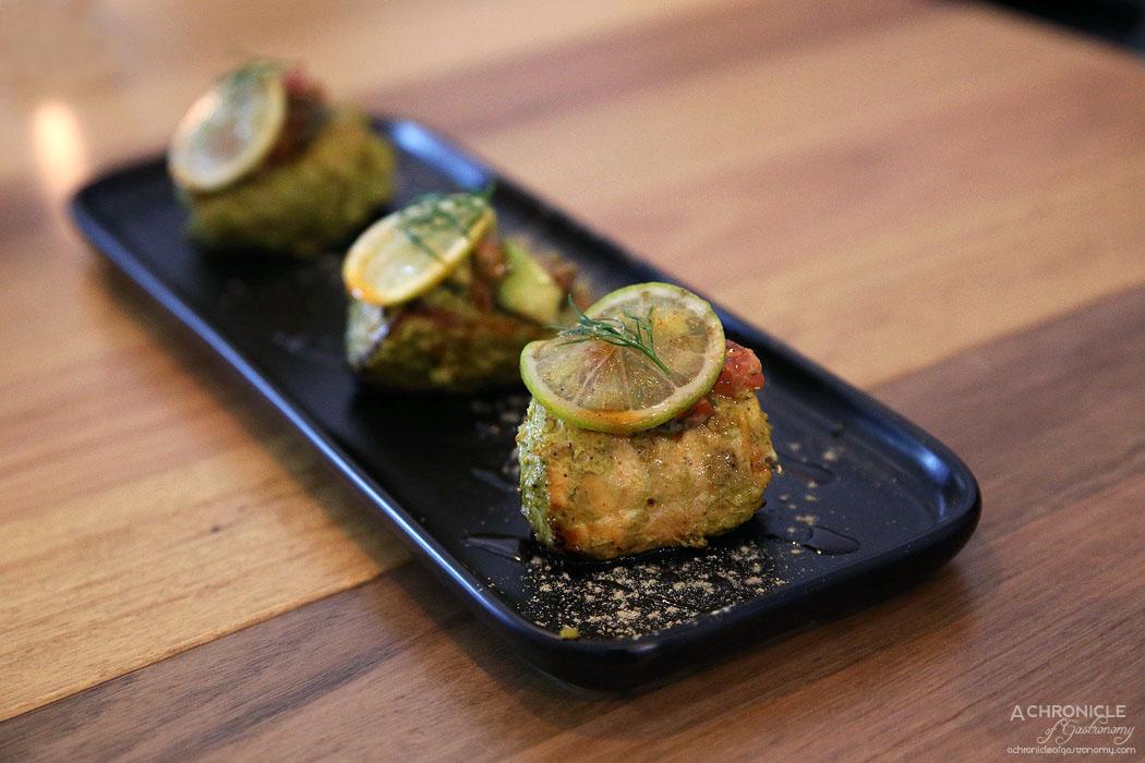 Piquancy - Tulsi Nimbu Fish Tikka - Atlantic salmon with basil, lime, garlic and candied orange ($26)