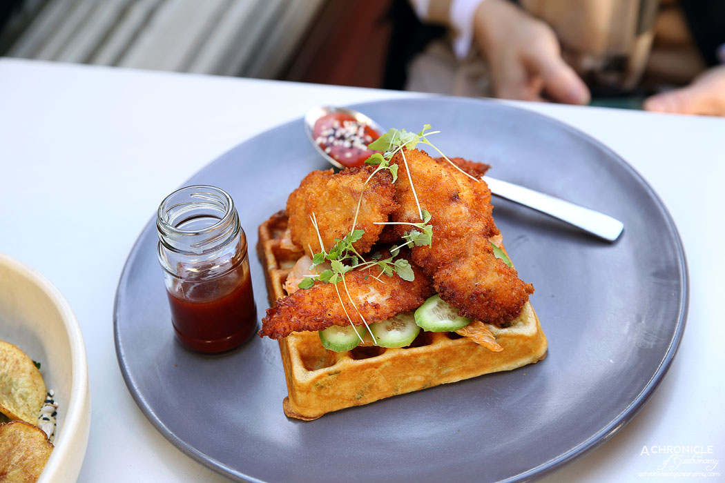 The Resident - Baby Got Seoul - Korean fried chicken, Resident Kimchi, cucumber slaw, gochujang mayonnaise, spring onion waffle, BBQ maple sauce ($17.50)